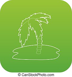 Palm tree icon green vector