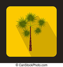 Palm tree icon in flat style