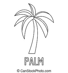 Palm tree icon, outline style.