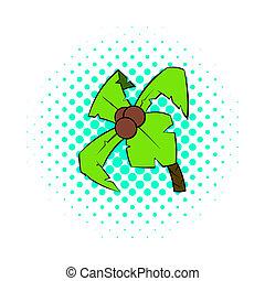 Palm tree icon, pop-art style