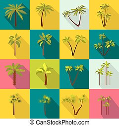Palm tree icons set, flat style