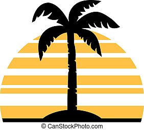 Palm tree in front of a retro sun
