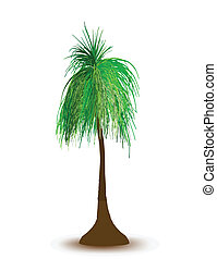 Palm tree in night. Vector
