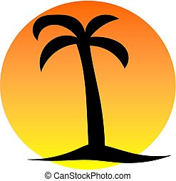 Palm tree in sunset - silhouette image of palm tree in...