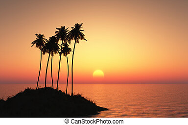 Palm tree island against a sunset sky - 3D render of a plam...