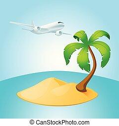 Palm tree island and airplane