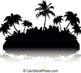 Palm tree island, Silhouette with shadow on white background,