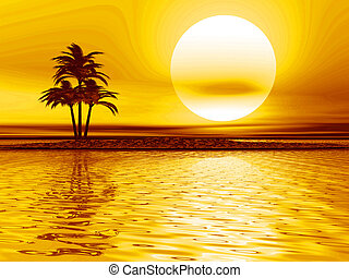 Palm tree landscape - Sea landscape with a palm on the...