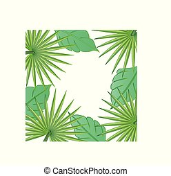 Palm tree leafs border frame background vector image