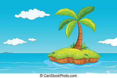 palm tree on island - illustration of a palm tree on a...