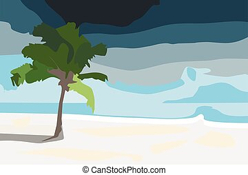 Palm tree on the beach of sand.