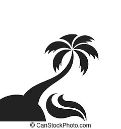 Palm tree on the island and the sea wave. Vector...
