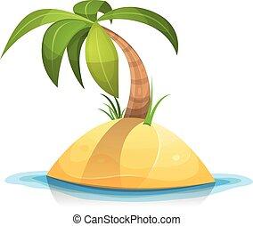 Palm Tree On Tropical Desert Island