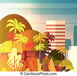 Palm Tree Park Over City Buildings Skyscrapers Background Summer Cityscape On Sunset View
