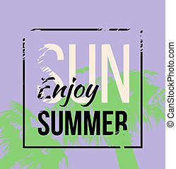 Palm tree print with text for t-shirt print graphic. Vector design. Tropical print.