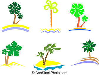 Palm tree set - Set of palm trees for design isolated on...