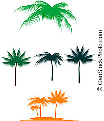 Palm tree set - Set of palm trees for design isolated on ...