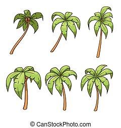 Palm tree set vector illustration