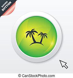 Palm Tree sign icon. Travel trip symbol. Green shiny button...