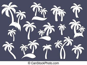 Palm tree silhouette icons