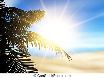 Silhouette of a palm tree on a defocussed beach landscape