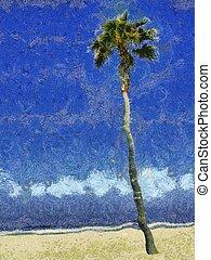 Palm Tree & Sky Painting