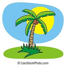 Palm tree - Cartoon illustration of palm tree