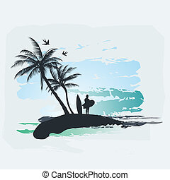 Palm tree's and a surfer against the blue sea and sky.