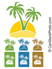 Palm tree - The palm tree image on island. A vector...