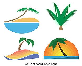Palm-tree vector icons. Tropic symbols