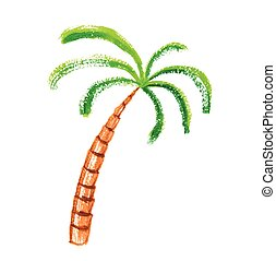 Palm tree, watercolour vector illustration - Palm tree,...