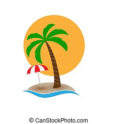 Palm tree with an umbrella on the island against the sun disk
