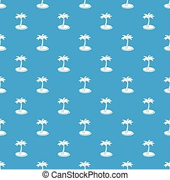 Palm tree with coconuts pattern vector seamless blue