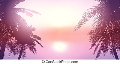 Palm trees against a sunset ocean landscape