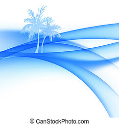 Palm trees and abstract waves of the sea.