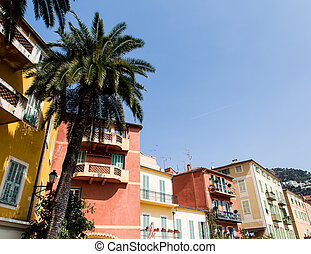 Palm Trees and Buildings in Villefranche