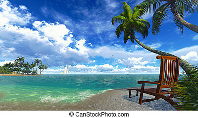 Palm trees and deckchair on a tropi - Realistic 3d...