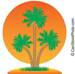 Palm trees and island.