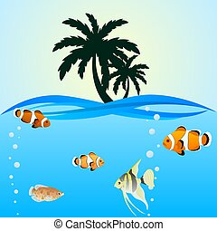 Palm trees and sea creatures