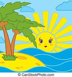 Palm trees and sunrise of the cartoon sun on the blue sea
