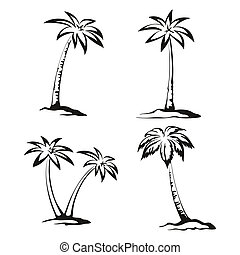 Palm Trees Black Pictograms - Tropical Palm Trees Pictograms...