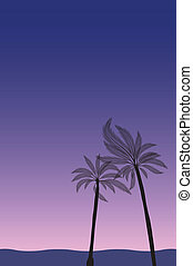 Palm trees by the beach - Vector - Illustration of palm...