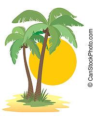 Coconut palm trees, sun, sunset and beach