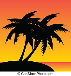 palm trees - vector illustration of palm trees