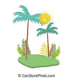palm trees foliage bracnhes grass nature cartoon isolated design icon