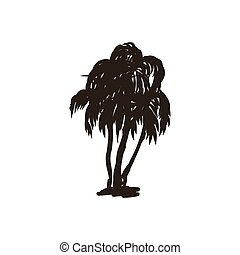Palm trees hand drawn vector icon, silhouette illustration on isolated background.