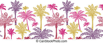Palm trees horizontal seamless pattern background border