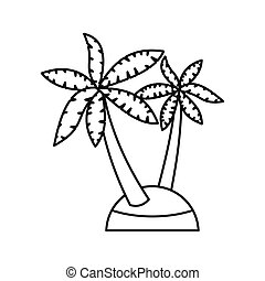 Palm trees icon, outline style