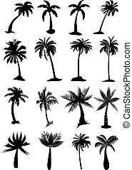 Palm trees icons set - Palm trees vector icons set in black.