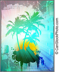 Palm trees in abstract background with grunge borders, ...